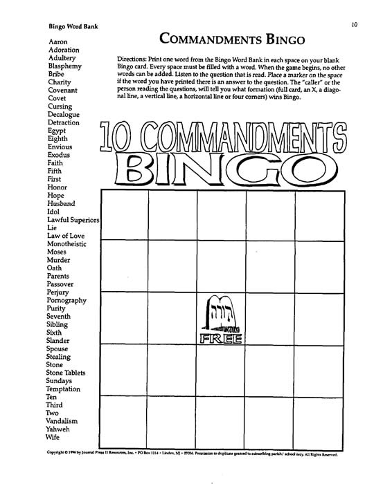 Bingo Games for Religious Education