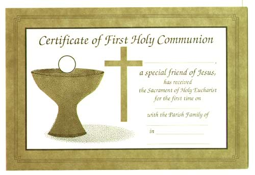First Communion Certificate Printable Certificate