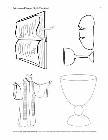 Basket Sacramentary Opened Book Bread And Wine Priest Celebrant Chalice Chasable Church Ciborium Crucifix Cruet Grapes Host Lamb Of God